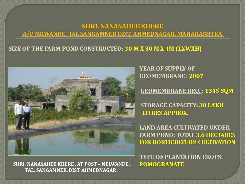 A/P NILWANDE, TAL SANGAMNER DIST. AHMEDNAGAR, MAHARASHTRA.