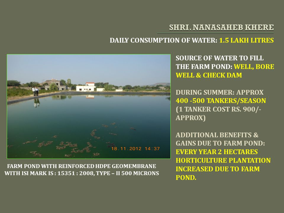 SHRI. NANASAHEB KHERE DAILY CONSUMPTION OF WATER: 1.5 LAKH LITRES
