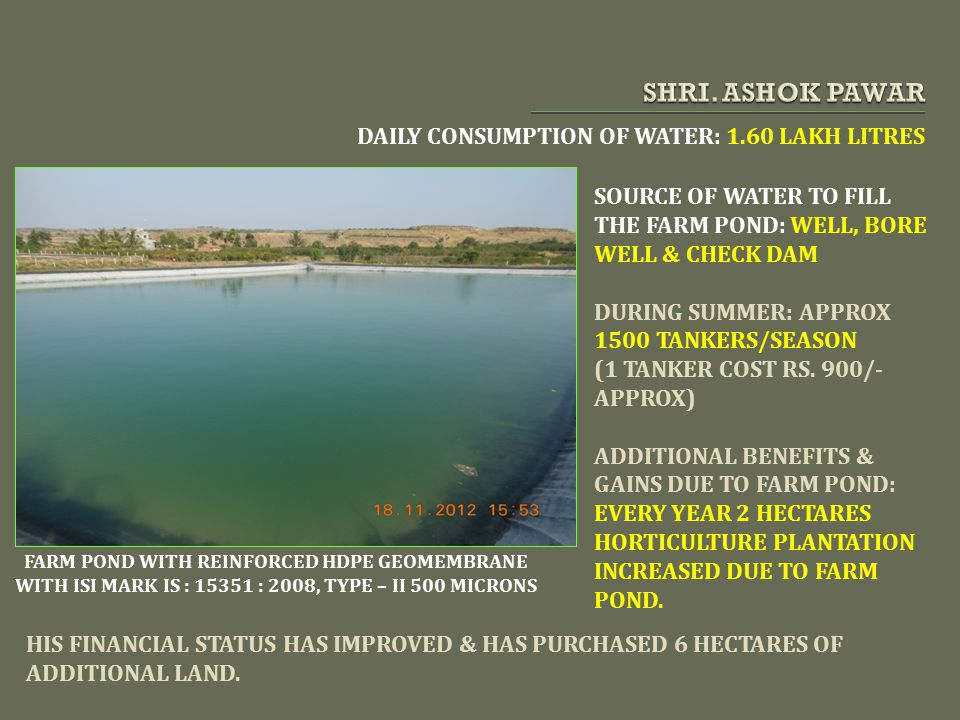 SHRI. ASHOK PAWAR DAILY CONSUMPTION OF WATER: 1.60 LAKH LITRES
