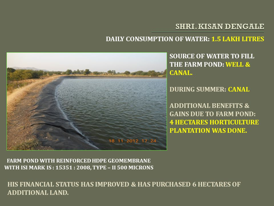 SHRI. KISAN DENGALE DAILY CONSUMPTION OF WATER: 1.5 LAKH LITRES