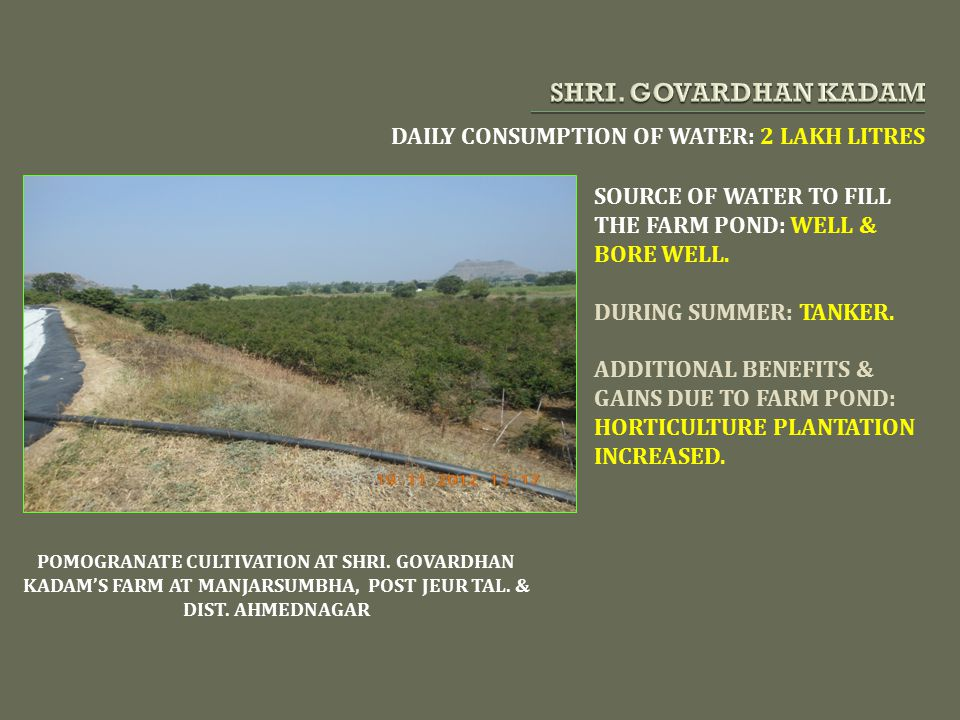 SHRI. GOVARDHAN KADAM DAILY CONSUMPTION OF WATER: 2 LAKH LITRES