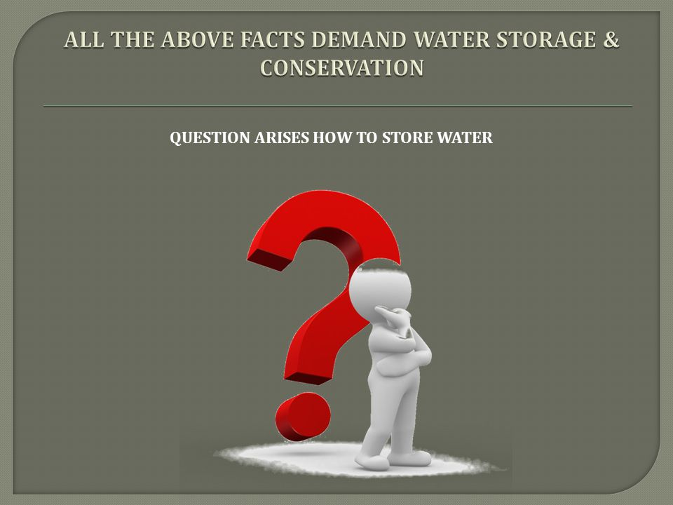 ALL THE ABOVE FACTS DEMAND WATER STORAGE & CONSERVATION