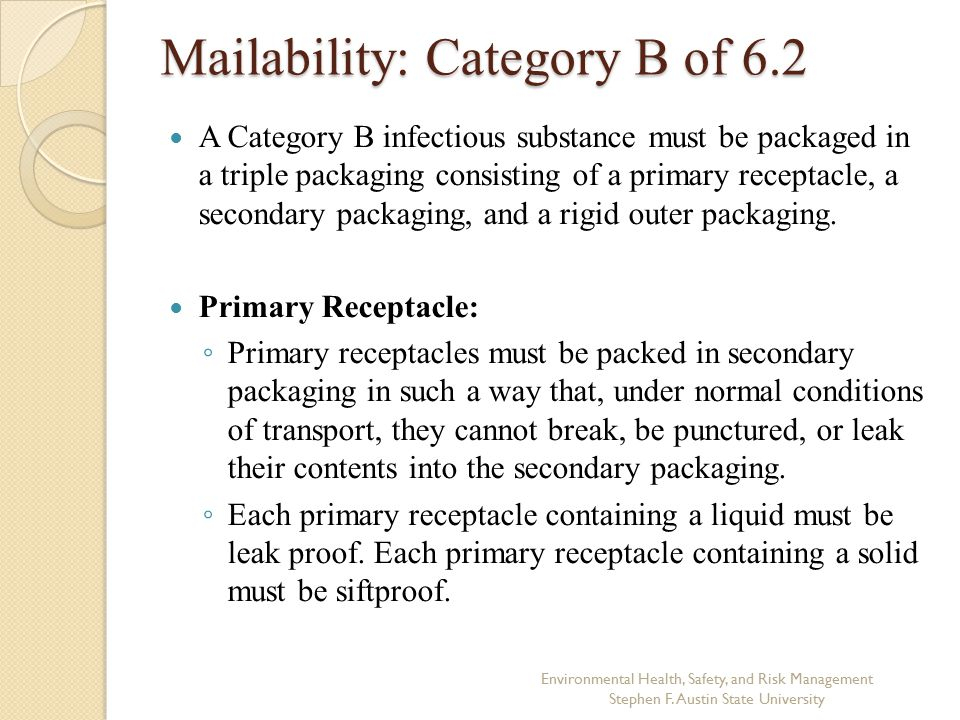 Mailability: Category B of 6.2