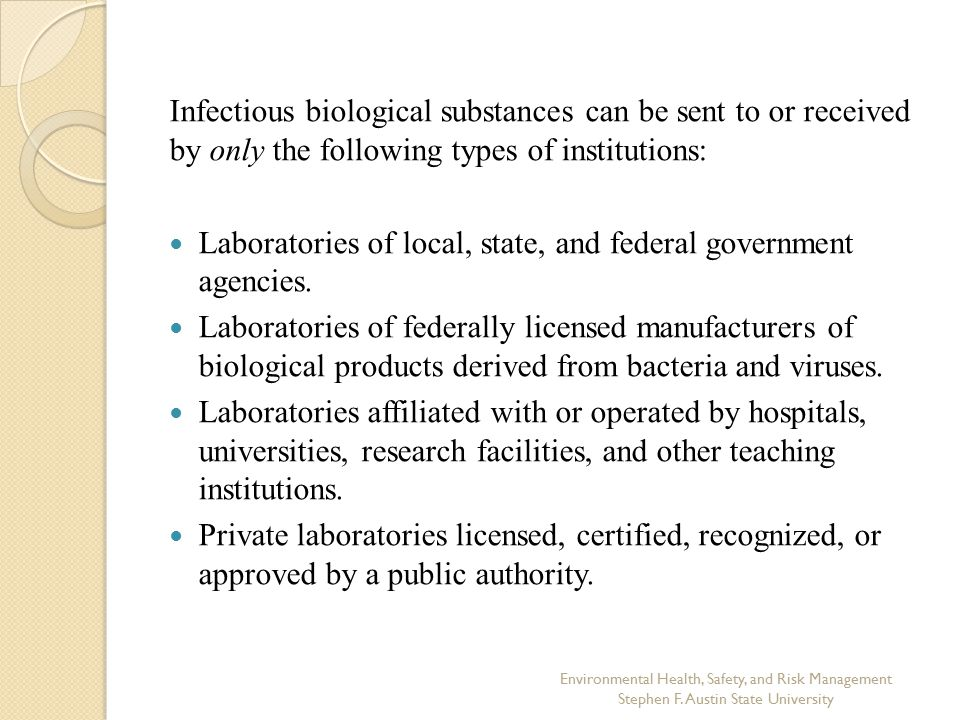 Laboratories of local, state, and federal government agencies.