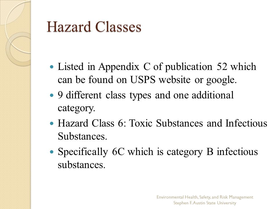 Hazard Classes Listed in Appendix C of publication 52 which can be found on USPS website or google.