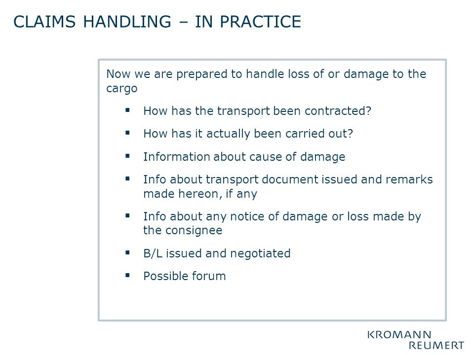 Claims handling – in practice