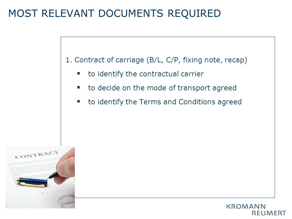 Most relevant documents required