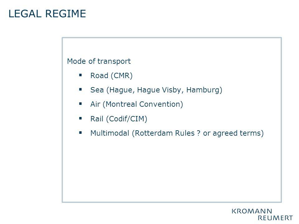 Legal regime Mode of transport Road (CMR)