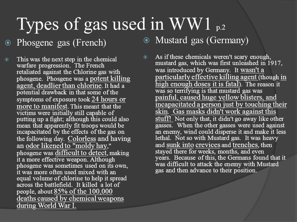 Types of gas used in WW1 p.2 Mustard gas (Germany)