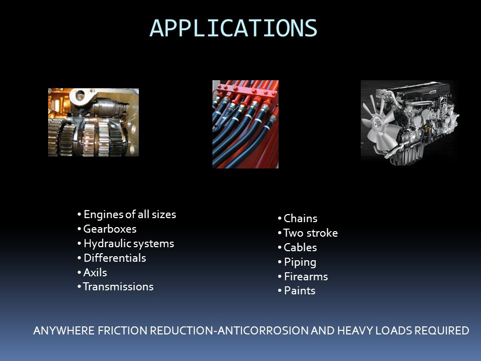 Engines of all sizes Gearboxes. Hydraulic systems. Differentials. Axils. Transmissions. Chains.