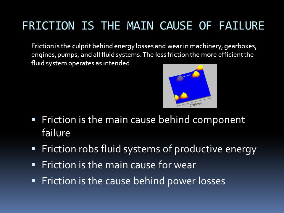 Friction is the main cause behind component failure