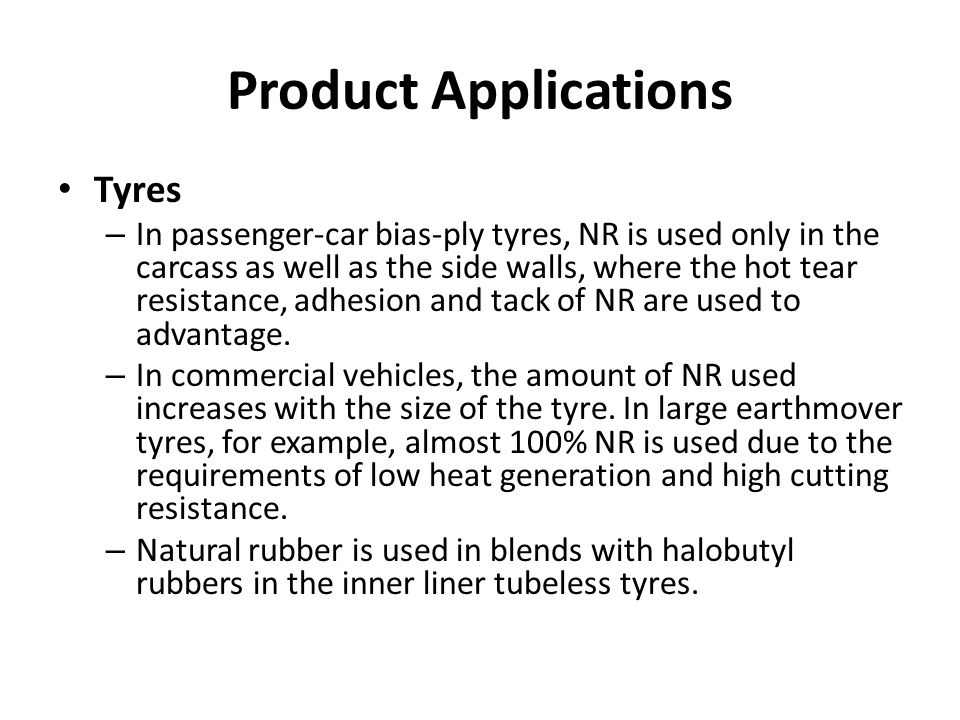 Product Applications Tyres
