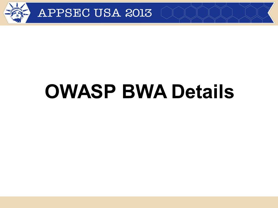 OWASP BWA Details
