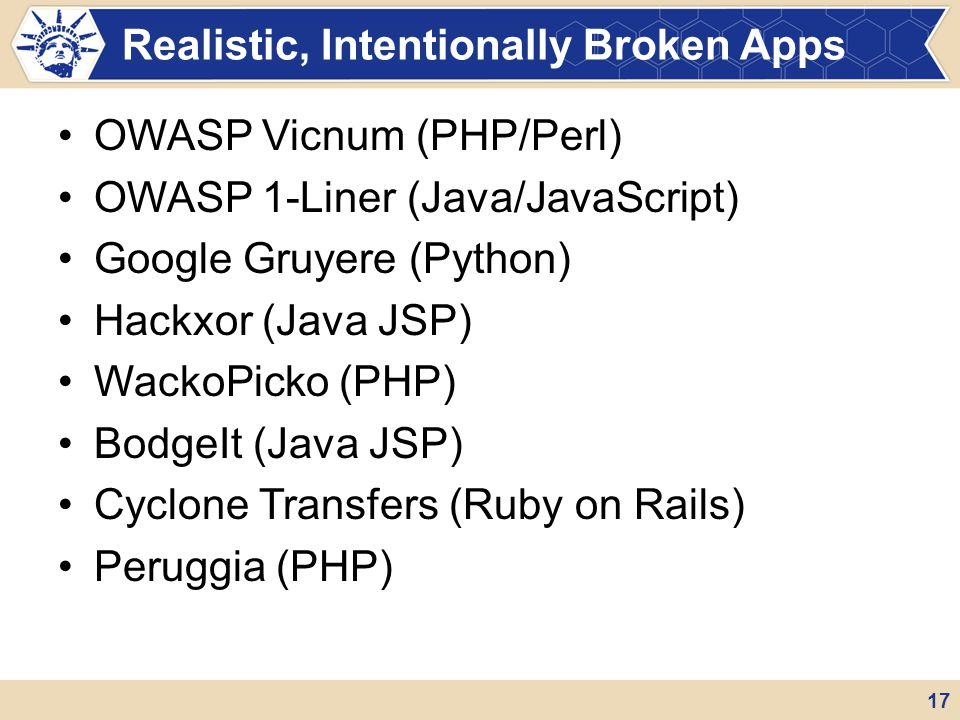 Realistic, Intentionally Broken Apps
