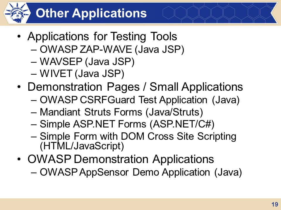 Other Applications Applications for Testing Tools