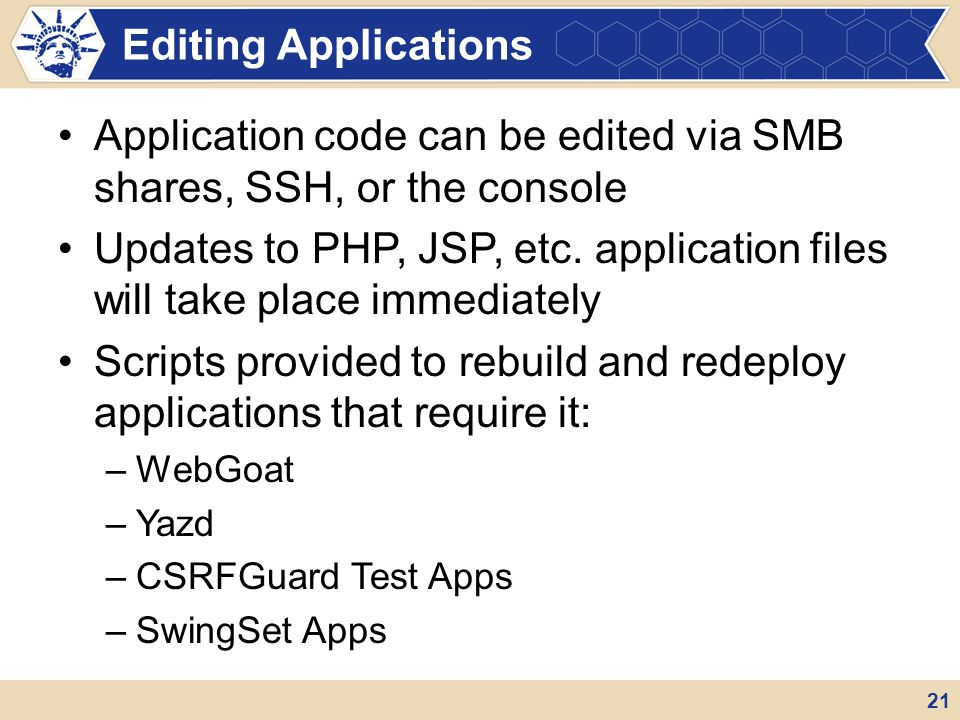 Application code can be edited via SMB shares, SSH, or the console