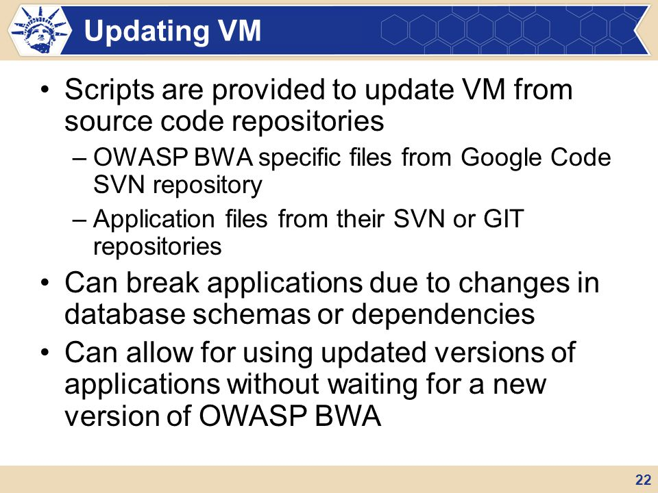 Scripts are provided to update VM from source code repositories