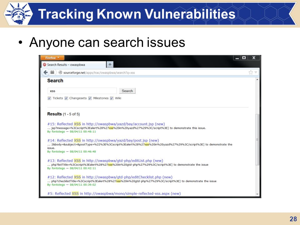 Tracking Known Vulnerabilities