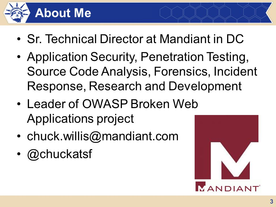 Sr. Technical Director at Mandiant in DC