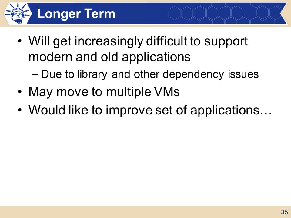Will get increasingly difficult to support modern and old applications