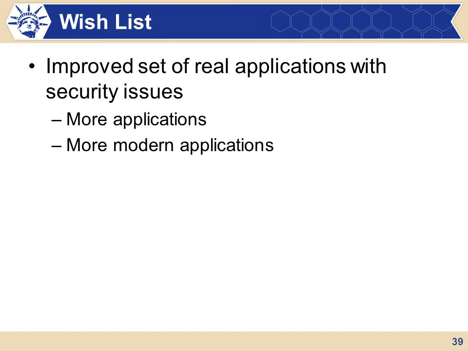 Improved set of real applications with security issues