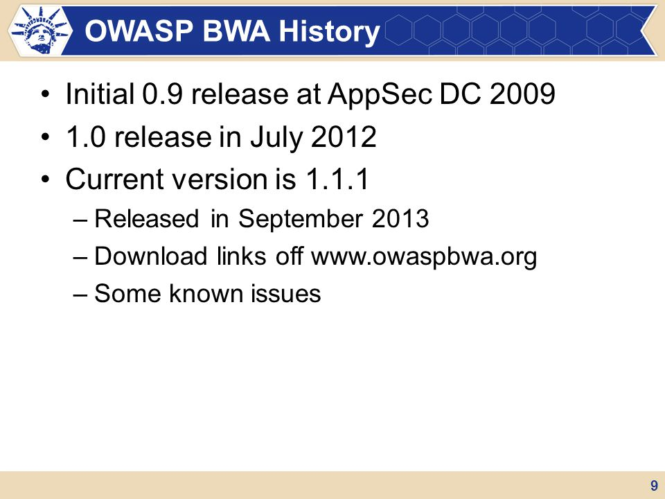 Initial 0.9 release at AppSec DC 2009 1.0 release in July 2012