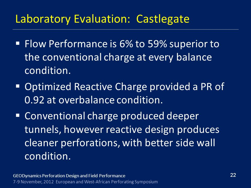 Laboratory Evaluation: Castlegate