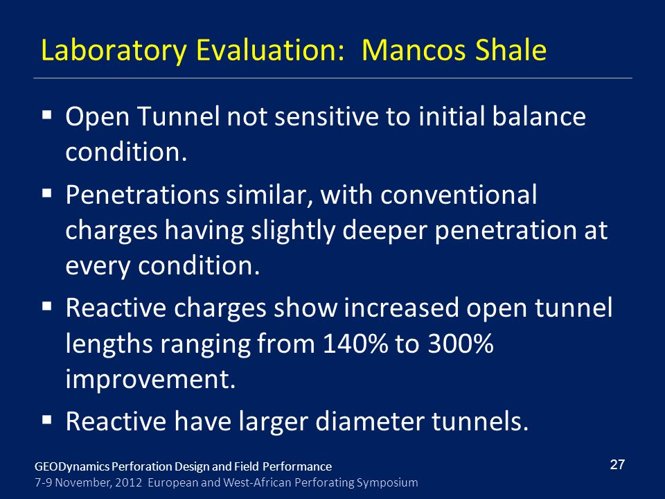 Laboratory Evaluation: Mancos Shale