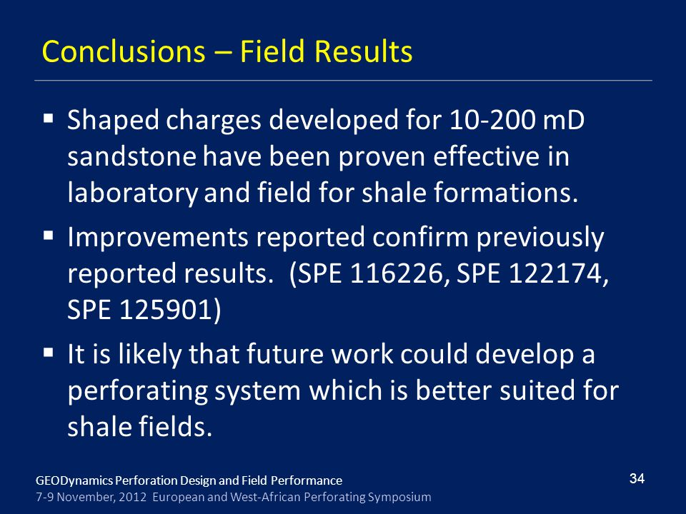 Conclusions – Field Results