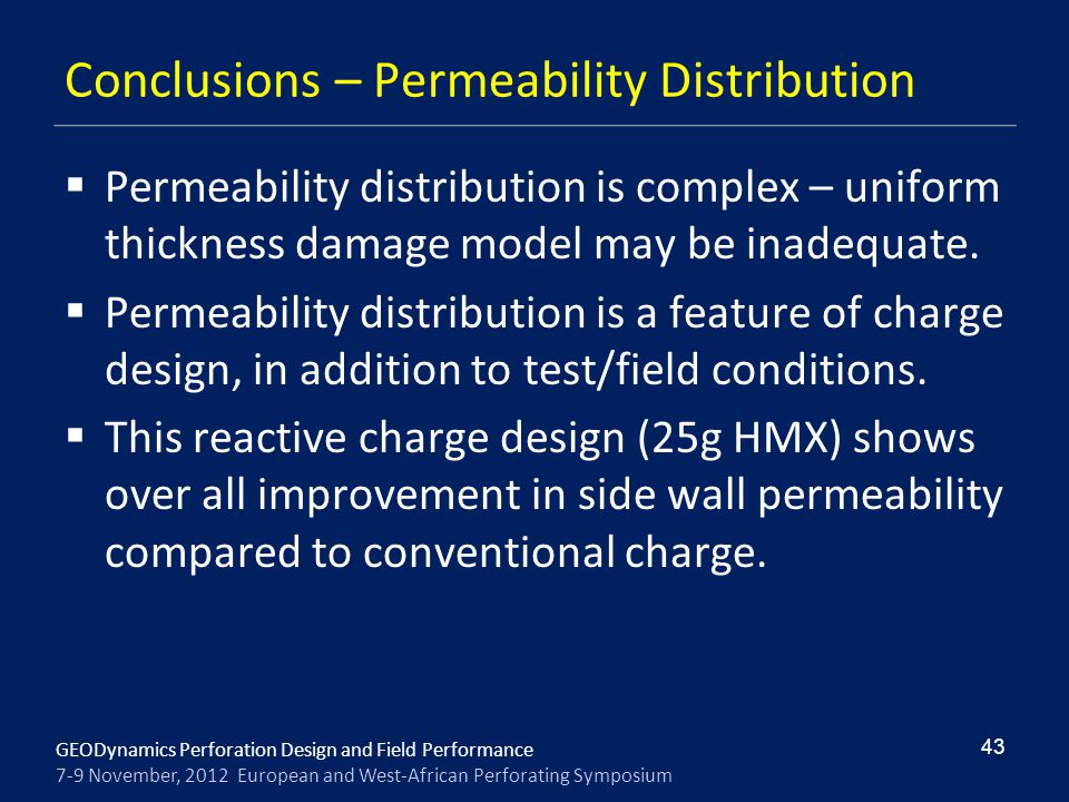 Conclusions – Permeability Distribution