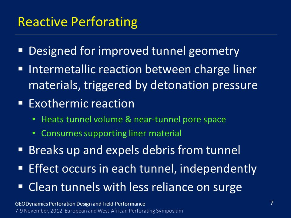 Reactive Perforating Designed for improved tunnel geometry