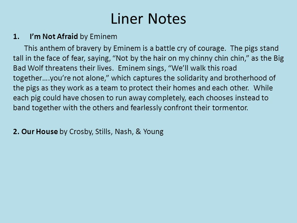 Liner Notes I'm Not Afraid by Eminem