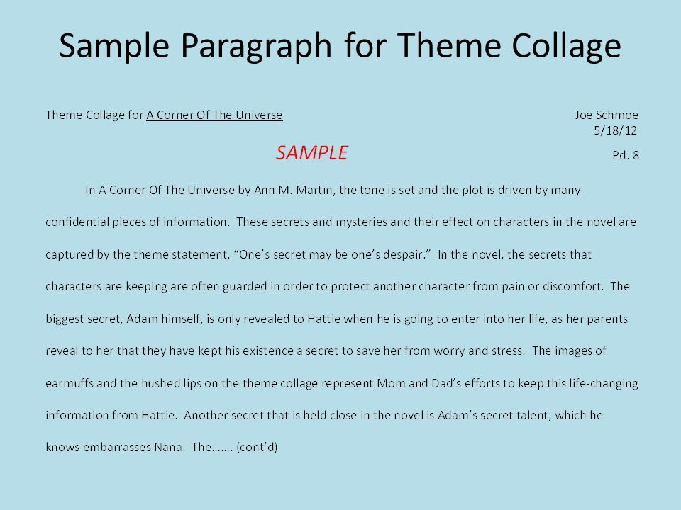 Sample Paragraph for Theme Collage
