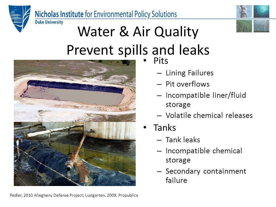 Water & Air Quality Prevent spills and leaks