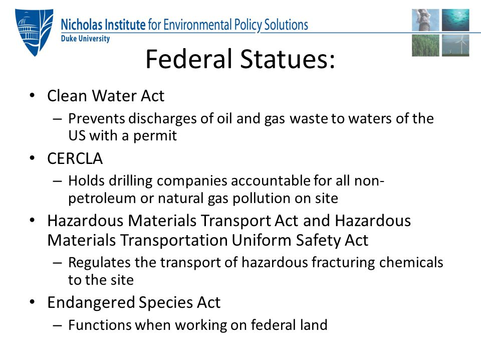 Federal Statues: Clean Water Act CERCLA