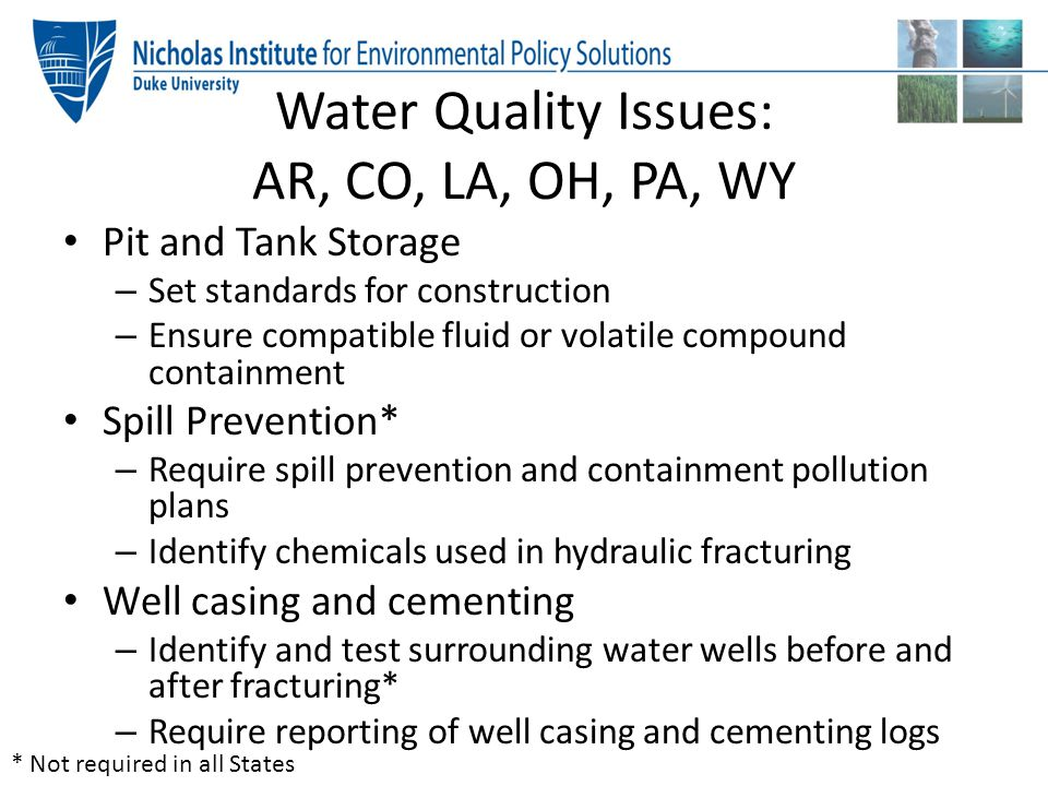 Water Quality Issues: AR, CO, LA, OH, PA, WY