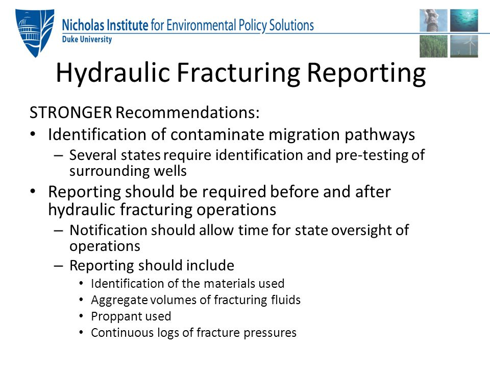 Hydraulic Fracturing Reporting
