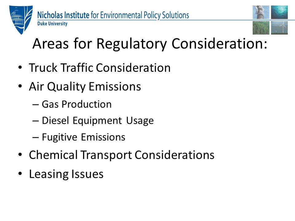 Areas for Regulatory Consideration: