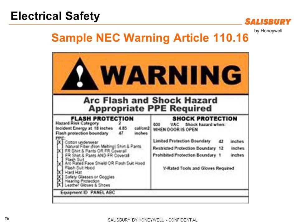 Sample NEC Warning Article 110.16