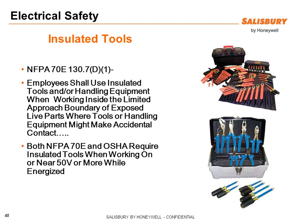 Electrical Safety Insulated Tools NFPA 70E 130.7(D)(1)-