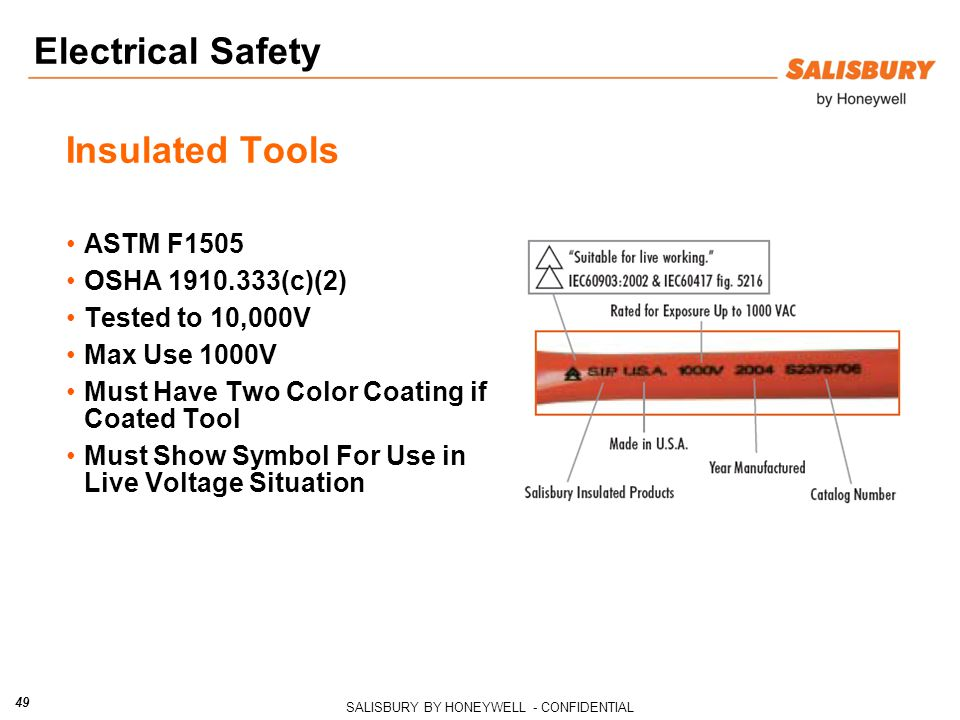 Electrical Safety Insulated Tools ASTM F1505 OSHA 1910.333(c)(2)