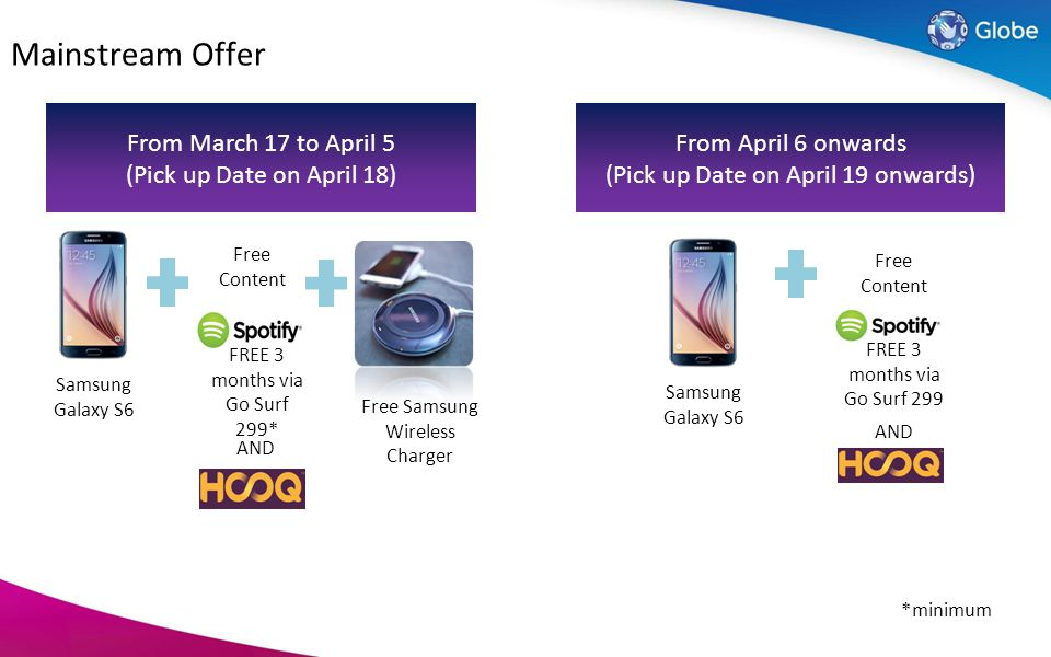 Mainstream Offer From March 17 to April 5 (Pick up Date on April 18)