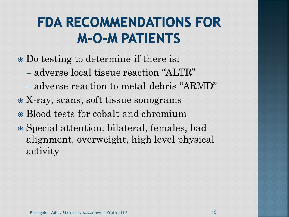FDA Recommendations for M-o-m Patients