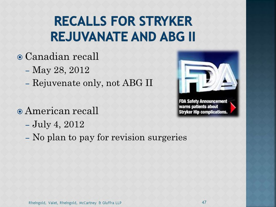 Recalls for stryker rejuvanate and abg II