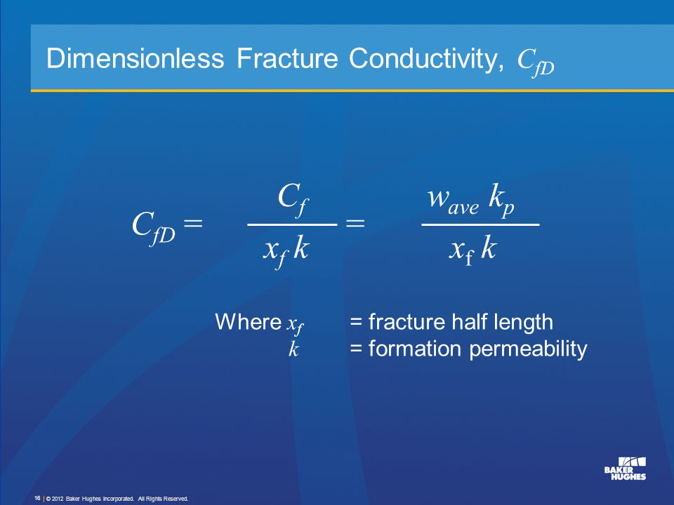 Dimensionless Fracture Conductivity, CfD
