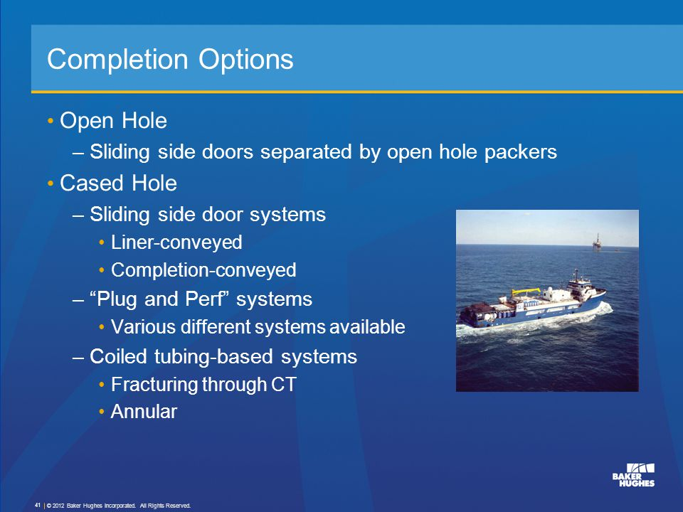 Completion Options Open Hole Cased Hole