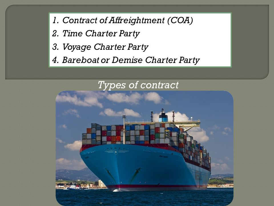 Types of contract Contract of Affreightment (COA) Time Charter Party