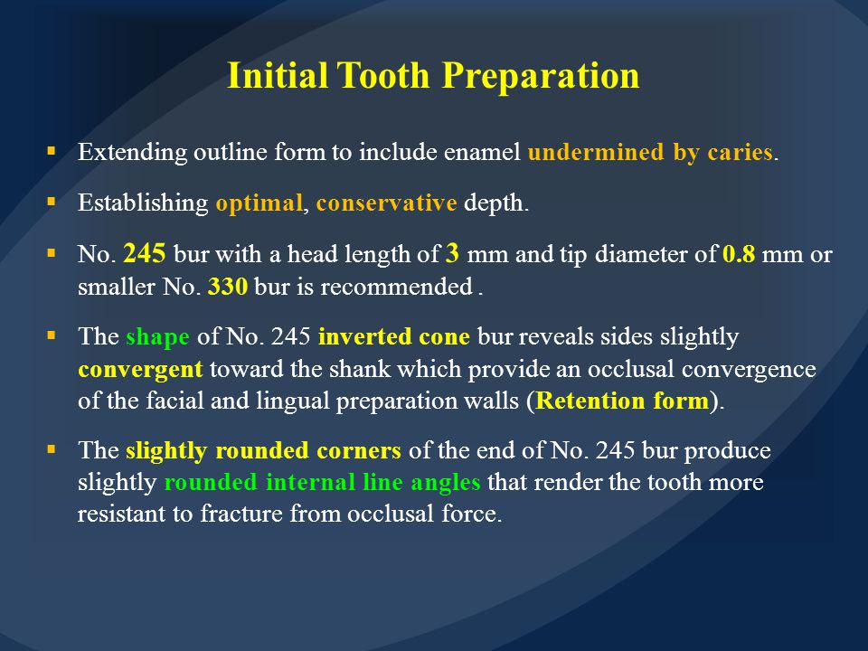 Initial Tooth Preparation