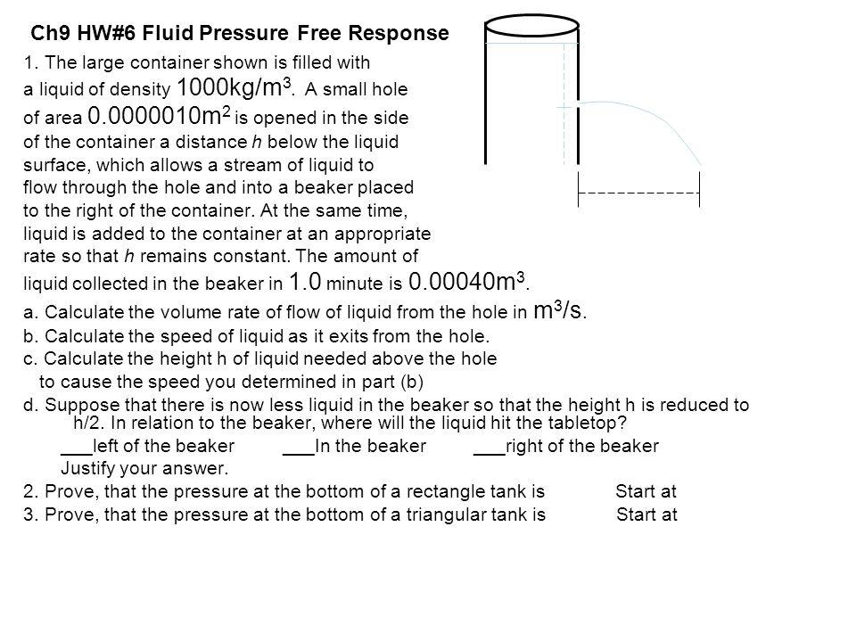 Ch9 HW#6 Fluid Pressure Free Response
