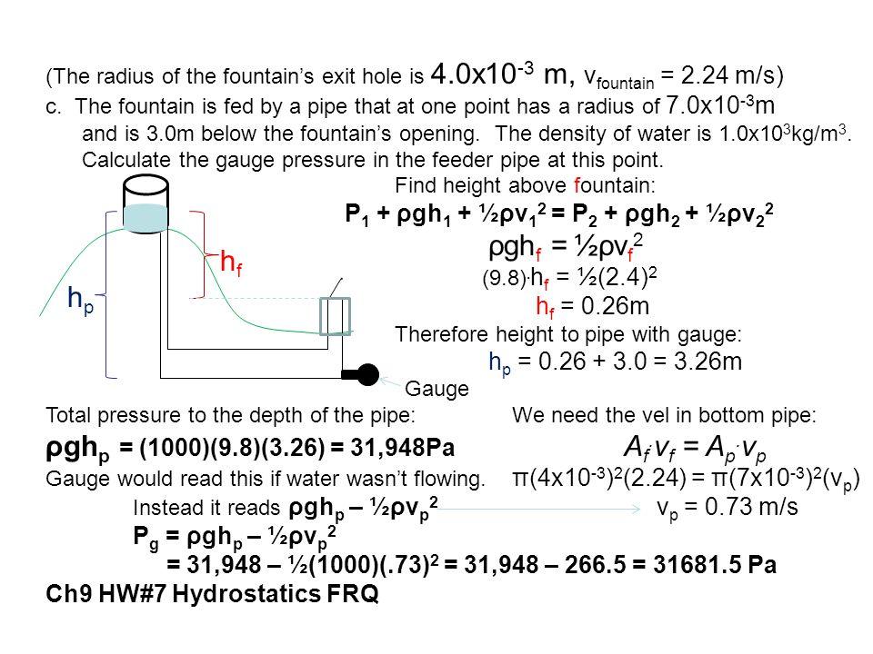 ρghp = (1000)(9.8)(3.26) = 31,948Pa Af.vf = Ap.vp hf hp
